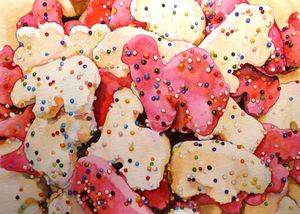 Pink and white animal cookies
