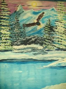 eagle flying, winter scene