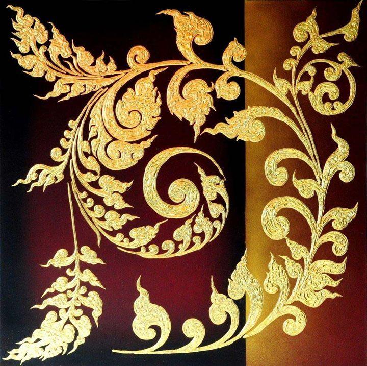 Thai Art Abstract Original Thai Patt - Asia Dragon Art