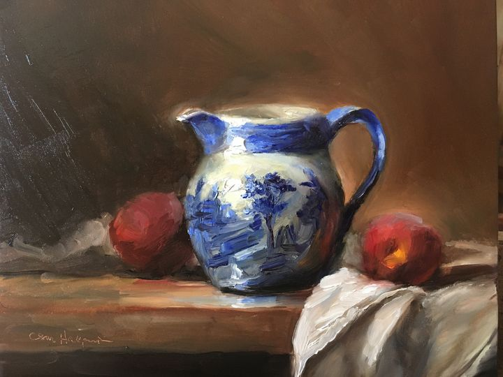 Ornate Pitcher with Two Peaches - Carol Halperin Oils