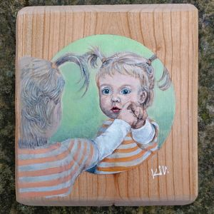 Wood Painting- Little Girl in Mirror