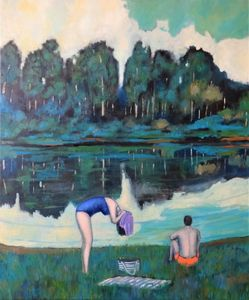 Bathers at the artificial lake