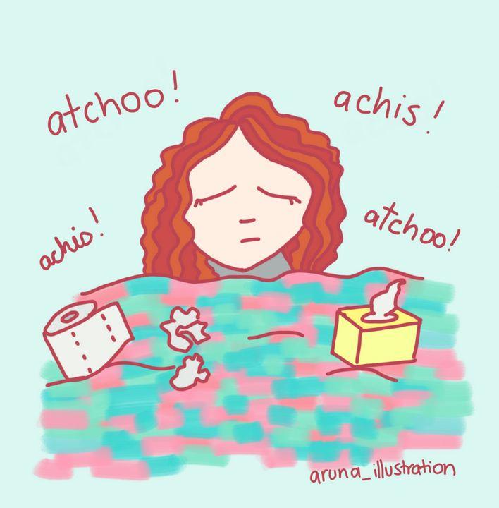 Feeling sick - Aruna - Aruna illustrations