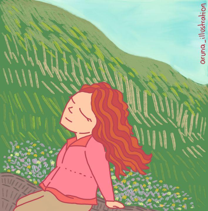 Aruna in the mountains- landscape - Aruna illustrations