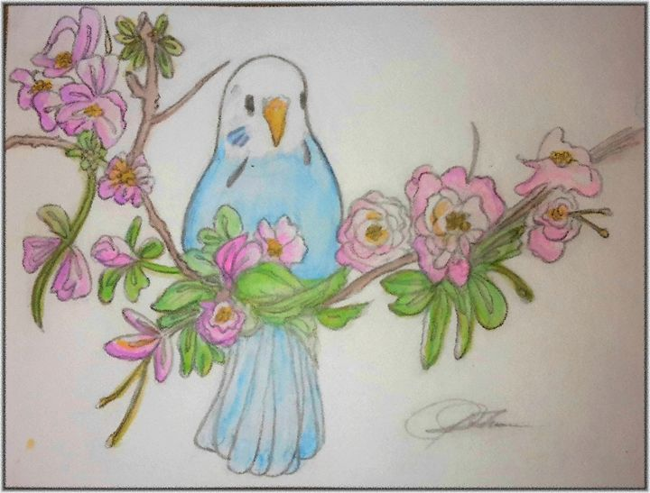 Blue Parakeet in Garden - Janay Clare Designs