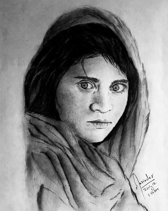 Steve McCurry' Afghan Girl (1985) - Ar. Narinder Pal Sallan