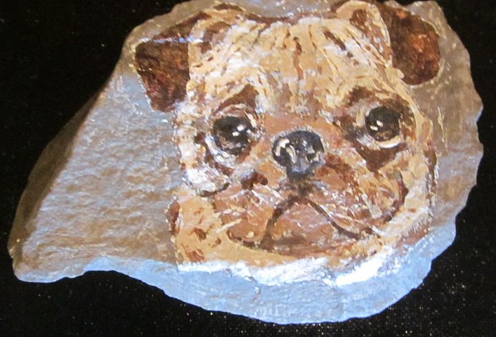 Pug Dog On Stone - chris cooper's art