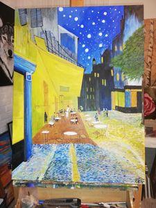 repro van Gogh op doek in olie en ac