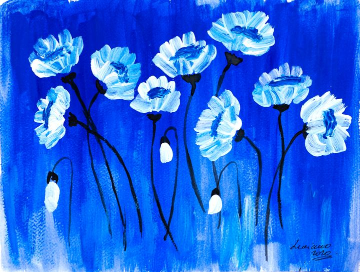 poppies in blue - Lucy's Gallery