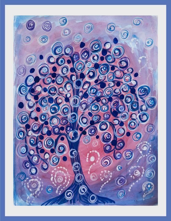 Fairy tree 3, watercolor painting - Lucy's Gallery