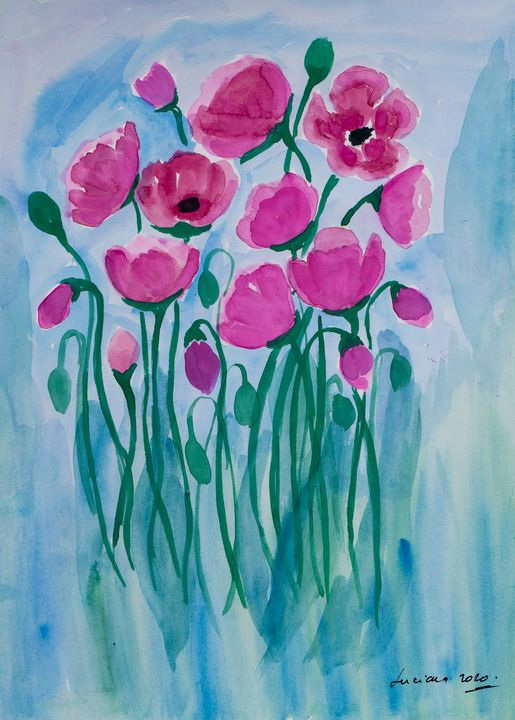 pink poppies - Lucy's Gallery