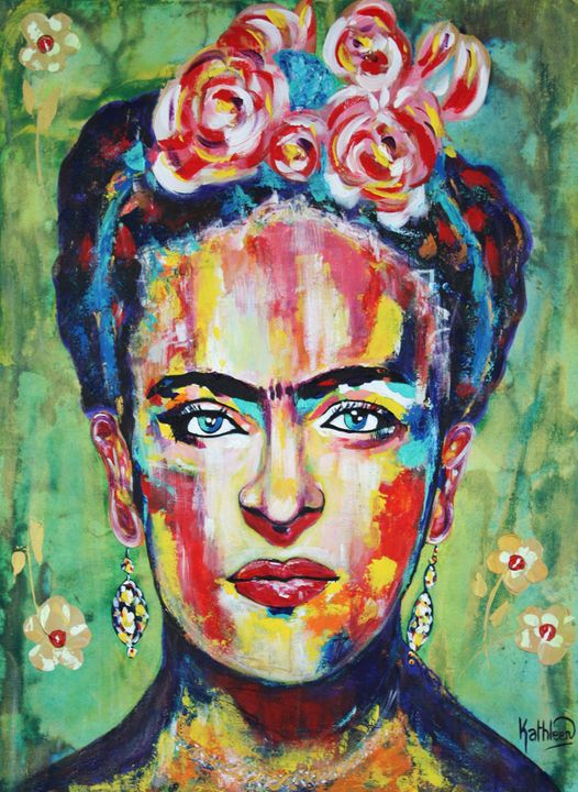 Frida Kahlo - Pink Flowers - Kathleen Artist PRO