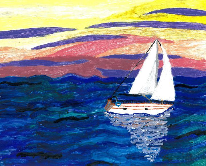 Sailing at Sunset - Karl art