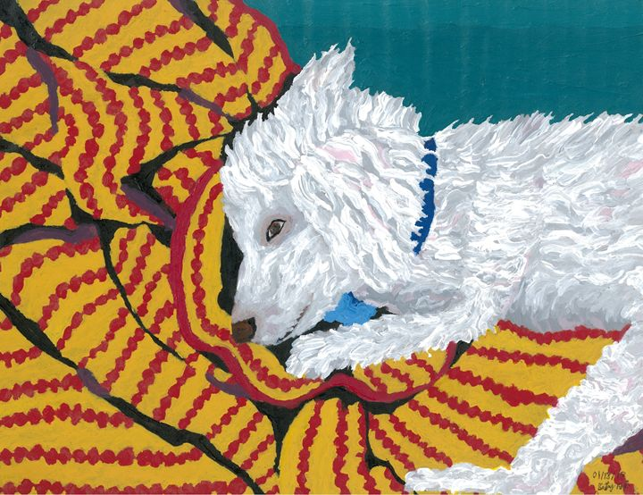 """Coach"" the Bichon Frise - Karl art"