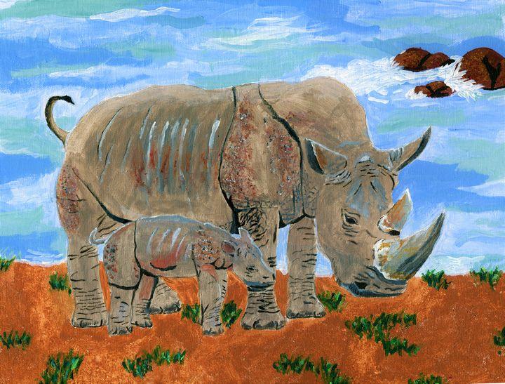 White Rhino (Near Threatened) - Karl art