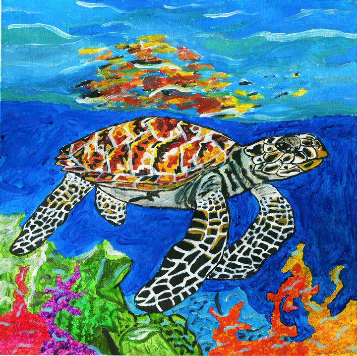Hawksbill sea turtle Crit Endangered - Karl art