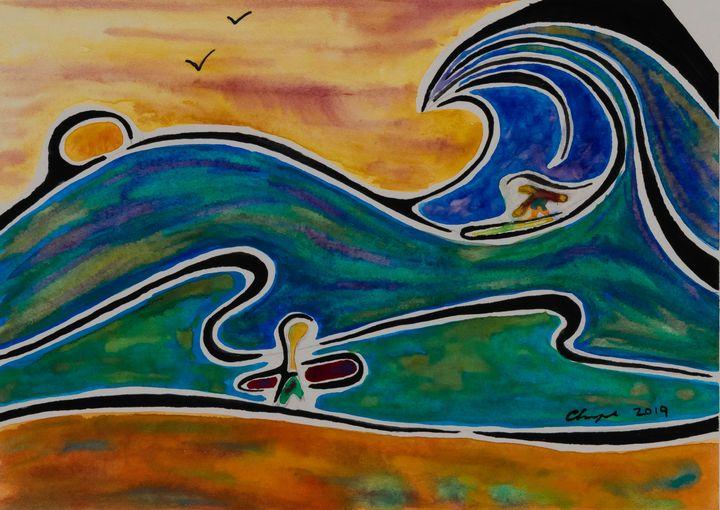 Surfing at Sunset - Kurt Champe