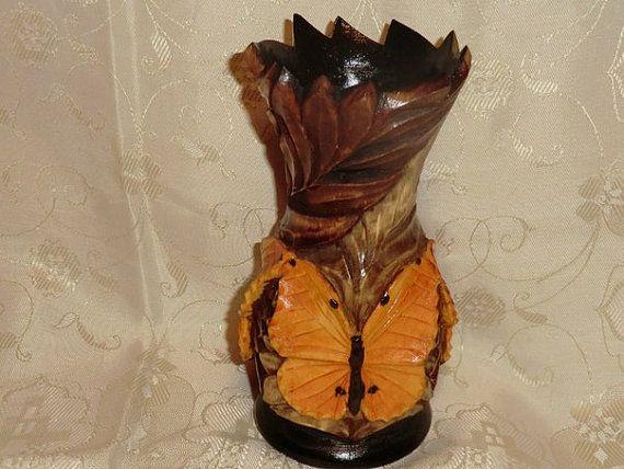 Vase Butterflies Art Woodcarving - Gennady Makulov. The art of carving