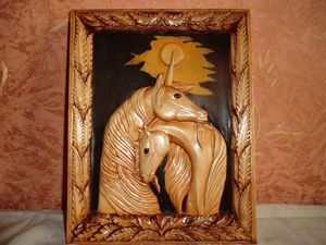 Love Picture of wood Art Carving