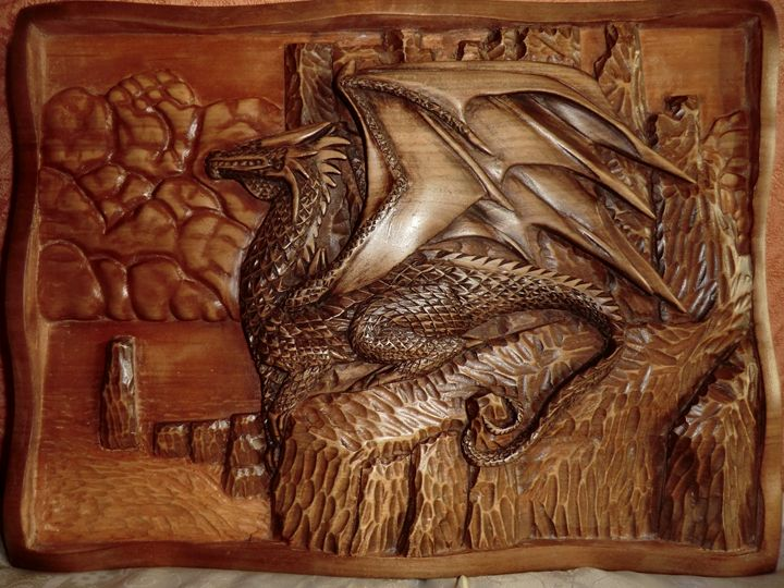 Resting dragon Art Wood Carving - Gennady Makulov. The art of carving