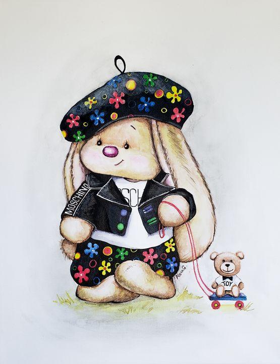 Cute Bunny wearing MOSCHINO - Alexa G.