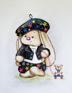 Cute Bunny wearing MOSCHINO