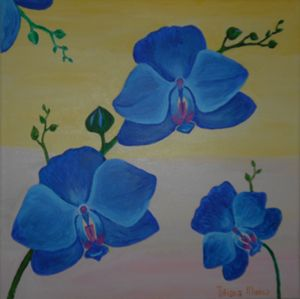 Blue orchids with a light backround