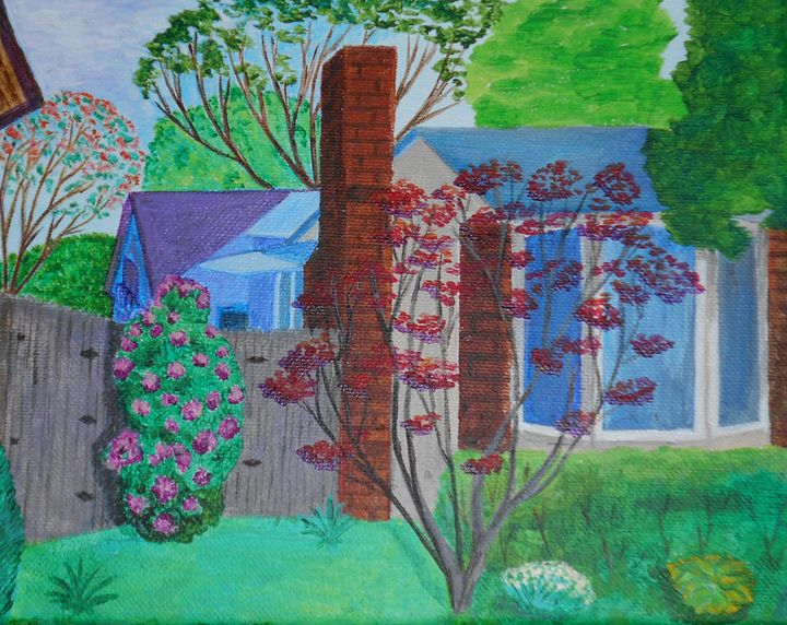 One-floor House with a Red Bush - Tatiana's paintings