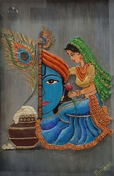 Radhakrishna mural art - Drawing and painting hub
