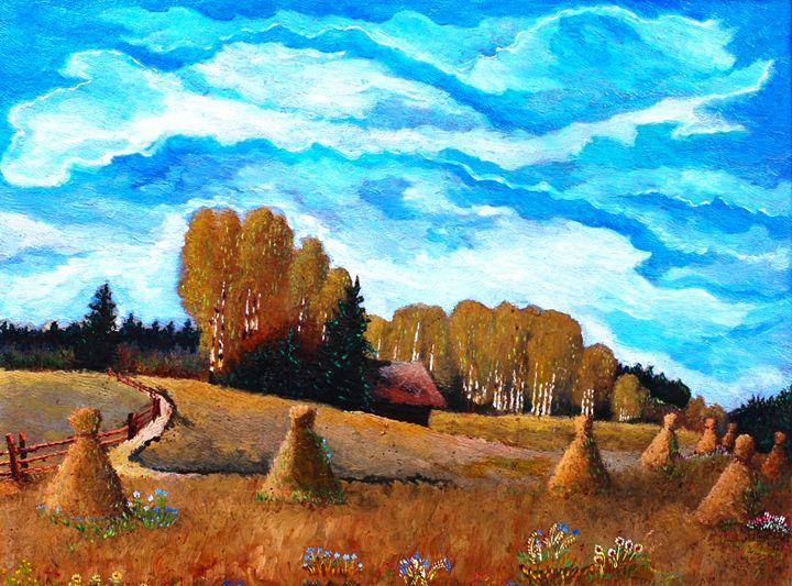 Original Oil Painting Village - Vladimir Kazakov