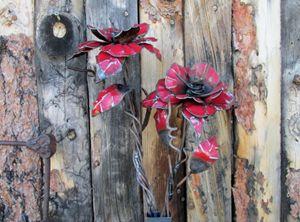 red metal flower
