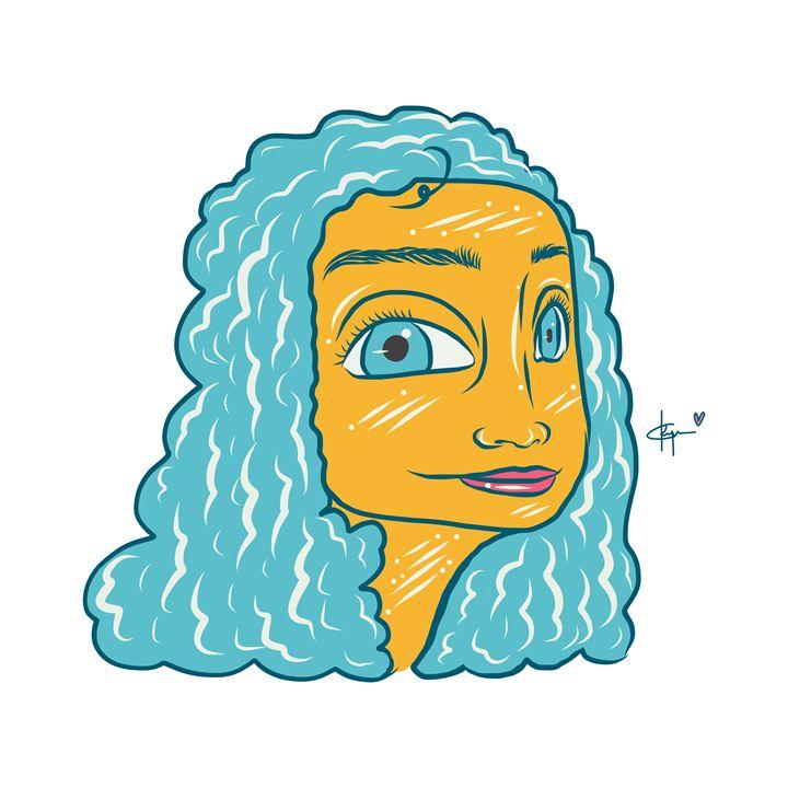 Blue Curly Hair - Kyrima - Artist Gallery
