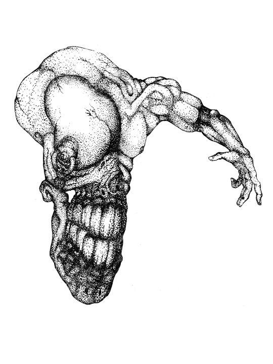 Original skull arm - Pencil Pixel ink.