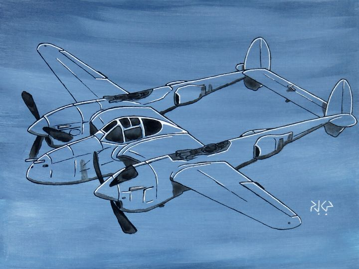P-38 Lightning in the Blue - Sketches of Payne