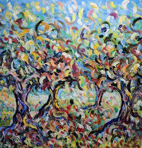 Campo  ulivi olio su tela 150x150 cm