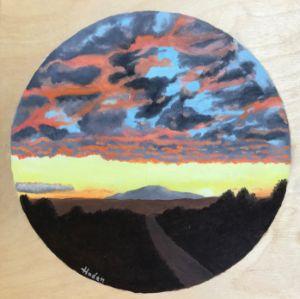 Albuquerque Sunset on wood panel