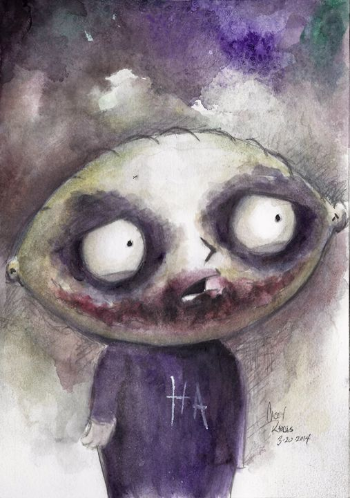 Stewie as The Joker - Paint and Sketch by Casey Rhodes