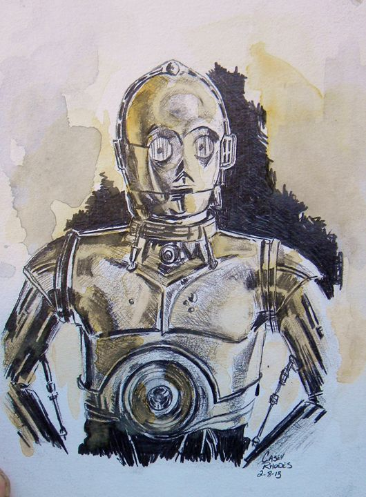 c3p0 - Paint and Sketch by Casey Rhodes
