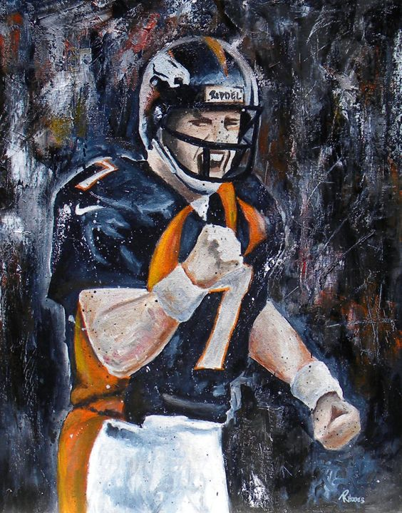 John Elway - Paint and Sketch by Casey Rhodes