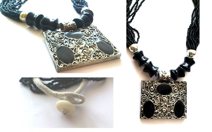 metal medallion and black beads - Elizabeth Martin