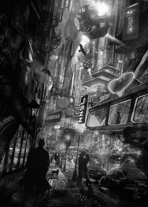 Strangers in a Noir Night - I Create Worlds - All things Fantasy by Luis Peres