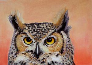 Owl. Oil on paper