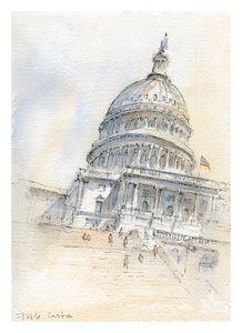 US Capitol Watercolor Art Print