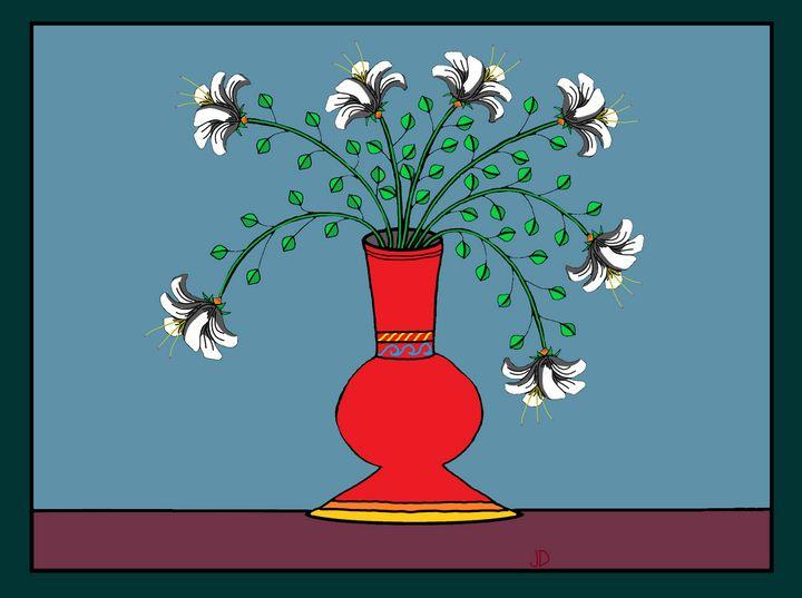 White Flowers, Red Vase - Jennydearinger