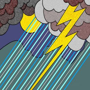 Art Deco meets Pop Art Rain Storm