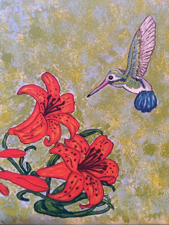 Hummingbird and Lilly flower - KatrinaArt