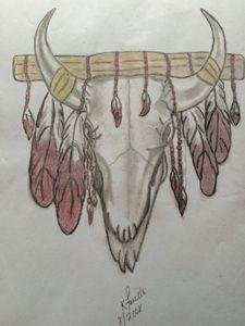 bufflo skull feather
