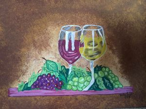wine glasses painting