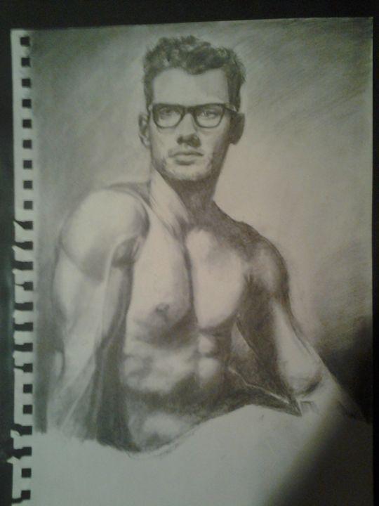 Semi-Nude Male Muscular Form - Alexander Born Drawings