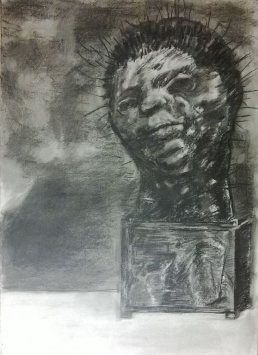 Spiked Head Rising From Crate - Alexander Born Drawings